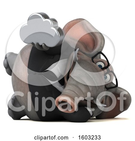 Clipart of a 3d Business Elephant Holding a Cloud, on a White Background - Royalty Free Illustration by Julos