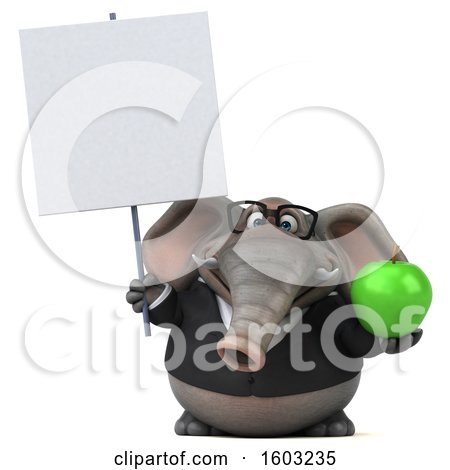 Clipart of a 3d Business Elephant Holding an Apple, on a White Background - Royalty Free Illustration by Julos