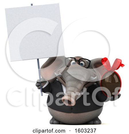 Clipart of a 3d Business Elephant Holding a Chocolate Egg, on a White Background - Royalty Free Illustration by Julos