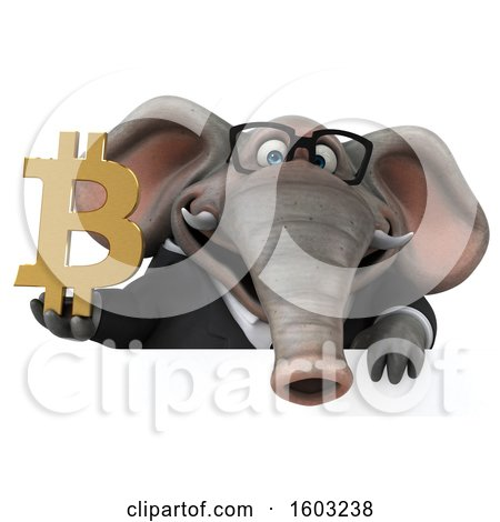 Clipart of a 3d Business Elephant Holding a Bitcoin Symbol, on a White Background - Royalty Free Illustration by Julos