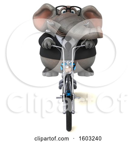 Clipart of a 3d Business Elephant Biker Riding a Chopper Motorcycle, on a White Background - Royalty Free Illustration by Julos