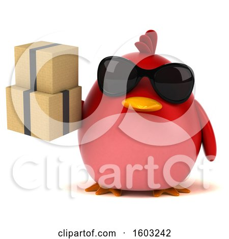 Clipart of a 3d Red Bird Holding Boxes, on a White Background - Royalty Free Illustration by Julos