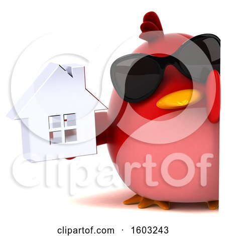 Clipart of a 3d Red Bird Holding a House, on a White Background - Royalty Free Illustration by Julos