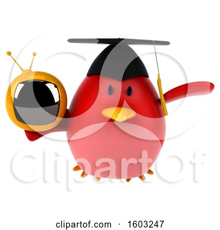 Clipart of a 3d Red Bird Graduate Holding a Tv, on a White Background - Royalty Free Illustration by Julos