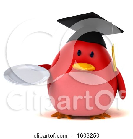 Clipart of a 3d Red Bird Graduate Holding a Plate, on a White Background - Royalty Free Illustration by Julos
