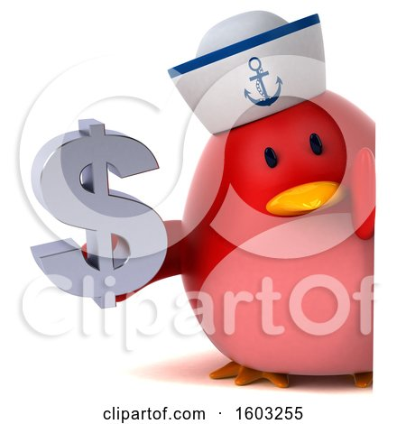 Clipart of a 3d Chubby Red Bird Sailor Holding a Dollar Sign, on a White Background - Royalty Free Illustration by Julos
