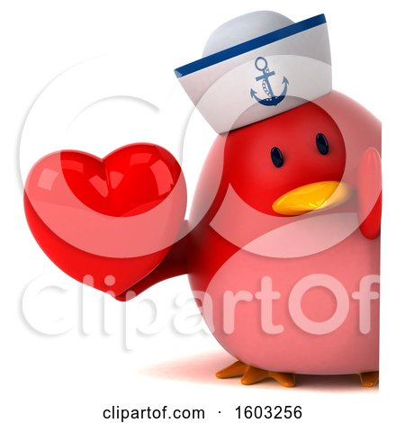 Clipart of a 3d Chubby Red Bird Sailor Holding a Heart, on a White Background - Royalty Free Illustration by Julos