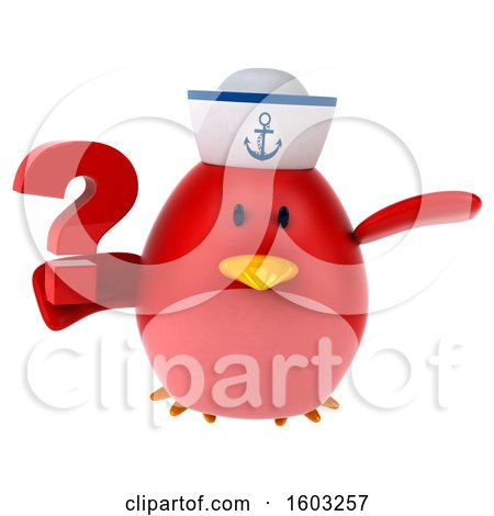 Clipart of a 3d Chubby Red Bird Sailor Holding a Question Mark, on a White Background - Royalty Free Illustration by Julos