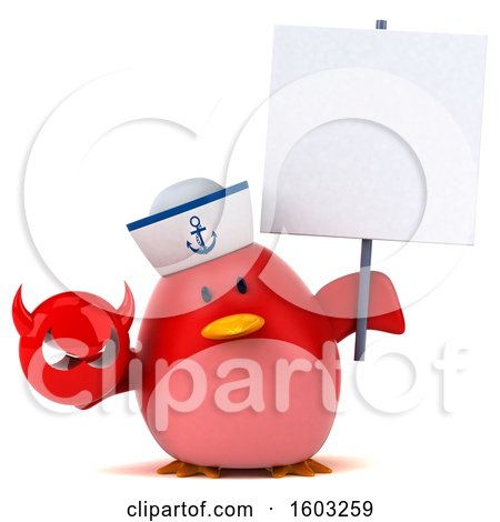 Clipart of a 3d Chubby Red Bird Sailor Holding a Devil, on a White Background - Royalty Free Illustration by Julos