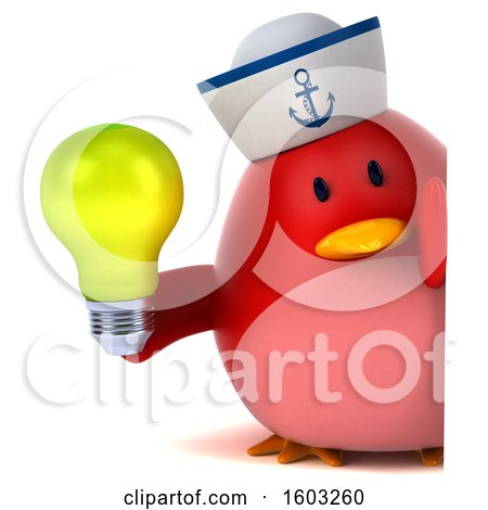 Clipart of a 3d Chubby Red Bird Sailor Holding a Light Bulb, on a White Background - Royalty Free Illustration by Julos