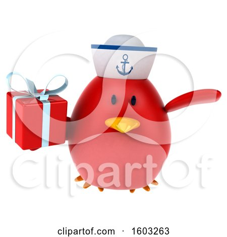 Clipart of a 3d Chubby Red Bird Sailor Holding a Gift, on a White Background - Royalty Free Illustration by Julos