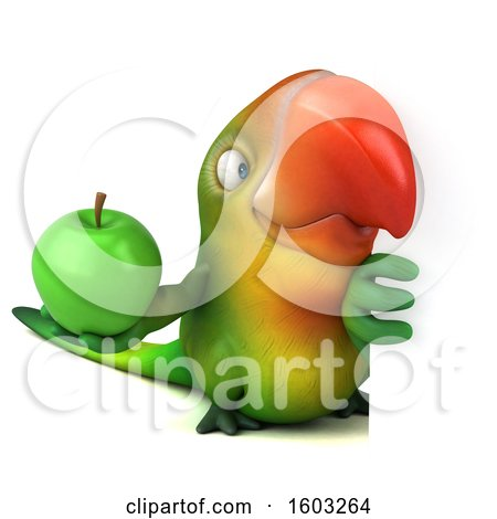 Clipart of a 3d Green Macaw Parrot Holding an Apple, on a White Background - Royalty Free Illustration by Julos