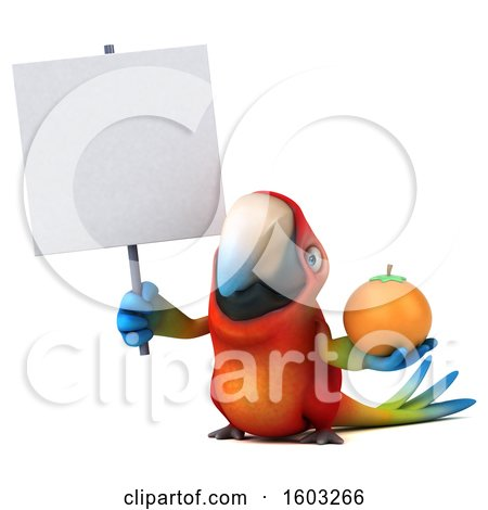 Clipart of a 3d Scarlet Macaw Parrot Holding an Orange, on a White Background - Royalty Free Illustration by Julos