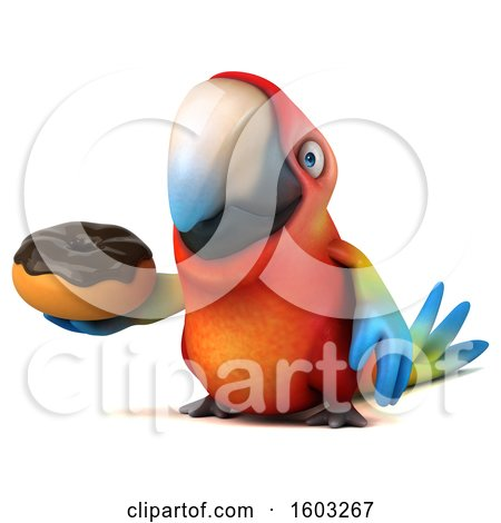 Clipart of a 3d Scarlet Macaw Parrot Holding a Donut, on a White Background - Royalty Free Illustration by Julos