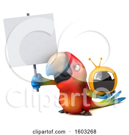 Clipart of a 3d Scarlet Macaw Parrot Holding a Tv, on a White Background - Royalty Free Illustration by Julos