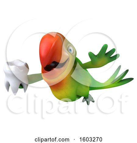 Clipart of a 3d Green Macaw Parrot Holding a Tooth, on a White Background - Royalty Free Illustration by Julos