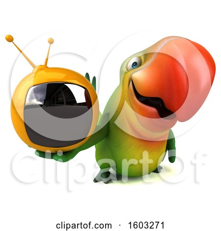Clipart of a 3d Green Macaw Parrot Holding a Tv, on a White Background - Royalty Free Illustration by Julos