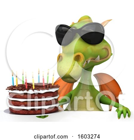 Clipart of a 3d Green Dragon Holding a Birthday Cake, on a White Background - Royalty Free Illustration by Julos