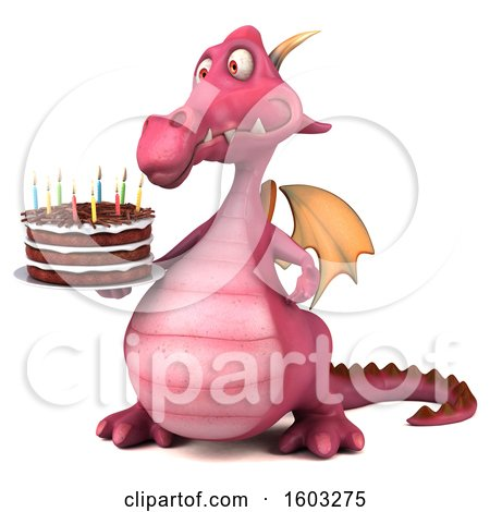 Clipart of a 3d Pink Dragon Holding a Birthday Cake, on a White Background - Royalty Free Illustration by Julos