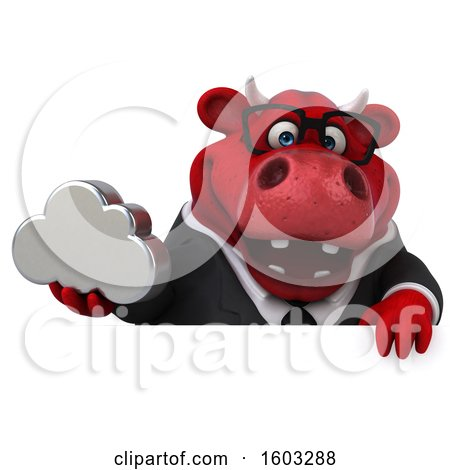 Clipart of a 3d Red Business Bull Holding a Cloud, on a White Background - Royalty Free Illustration by Julos
