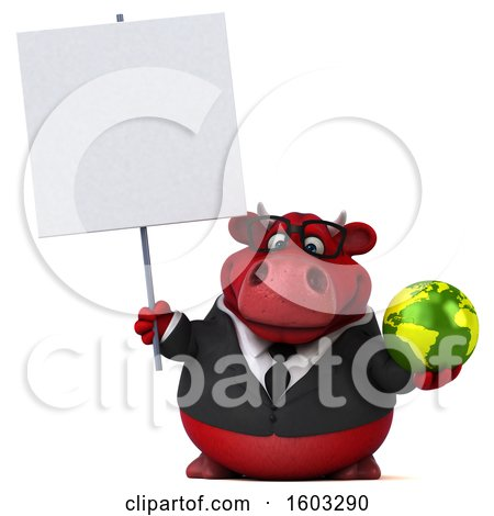 Clipart of a 3d Red Business Bull Holding a Globe, on a White Background - Royalty Free Illustration by Julos