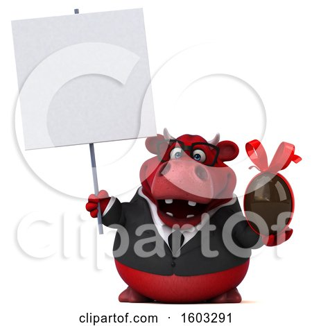 Clipart of a 3d Red Business Bull Holding a Chocolate Egg, on a White Background - Royalty Free Illustration by Julos