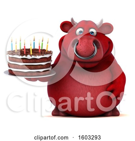 Clipart of a 3d Red Business Bull Holding a Birthday Cake, on a White Background - Royalty Free Illustration by Julos