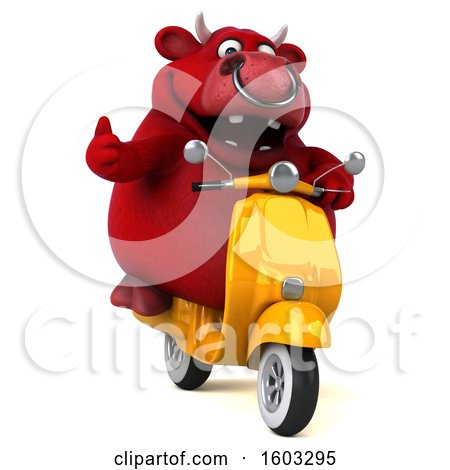 Clipart of a 3d Red Business Bull Riding a Scooter, on a White Background - Royalty Free Illustration by Julos