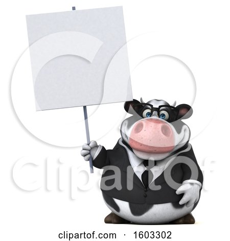 Clipart of a 3d Business Holstein Cow Holding a Sign, on a White Background - Royalty Free Illustration by Julos