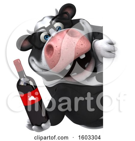 Clipart of a 3d Business Holstein Cow Holding Wine, on a White Background - Royalty Free Illustration by Julos