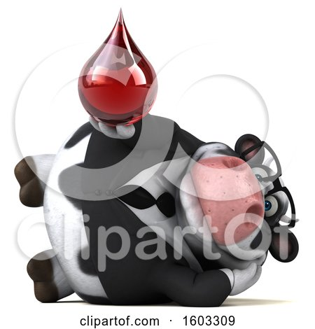 Clipart of a 3d Business Holstein Cow Holding a Blood Drop, on a White Background - Royalty Free Illustration by Julos