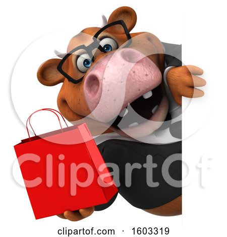 Clipart of a 3d Brown Business Cow Holding a Shopping Bag, on a White Background - Royalty Free Illustration by Julos