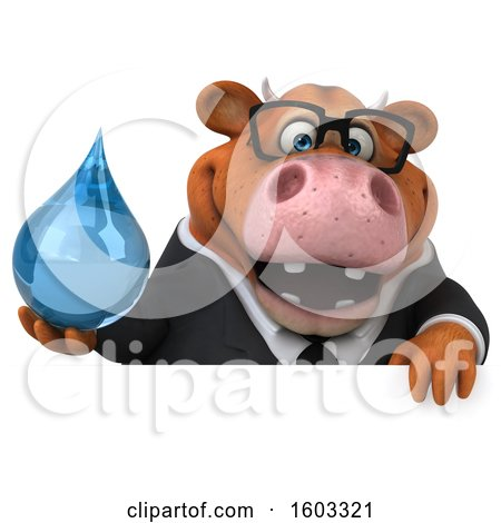 Clipart of a 3d Brown Business Cow Holding a Water Drop, on a White Background - Royalty Free Illustration by Julos
