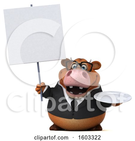 Clipart of a 3d Brown Business Cow Holding a Plate, on a White Background - Royalty Free Illustration by Julos