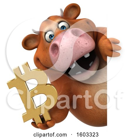 Clipart of a 3d Brown Cow Holding a Bitcoin Symbol, on a White Background - Royalty Free Illustration by Julos
