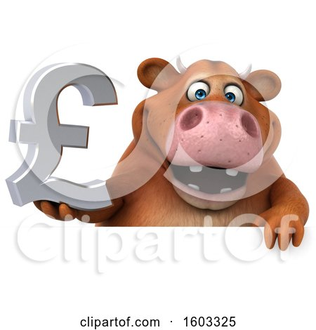 Clipart of a 3d Brown Cow Holding a Lira, on a White Background - Royalty Free Illustration by Julos