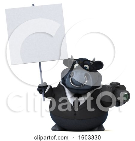 Clipart of a 3d Black Business Bull Holding a Camera, on a White Background - Royalty Free Illustration by Julos