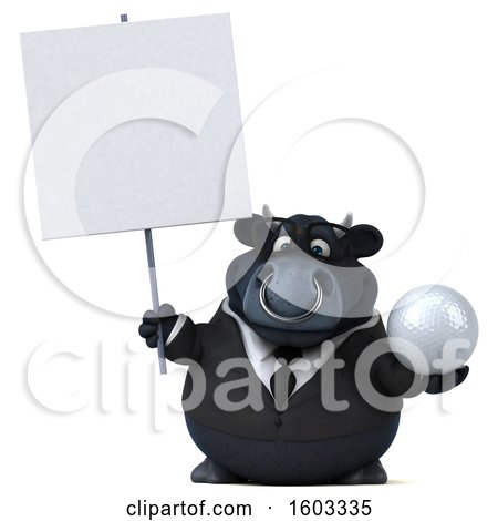 Clipart of a 3d Black Business Bull Holding a Golf Ball, on a White Background - Royalty Free Illustration by Julos