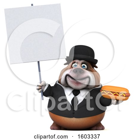 Clipart of a 3d Gentleman or Business Bulldog Holding a Hot Dog, on a White Background - Royalty Free Illustration by Julos