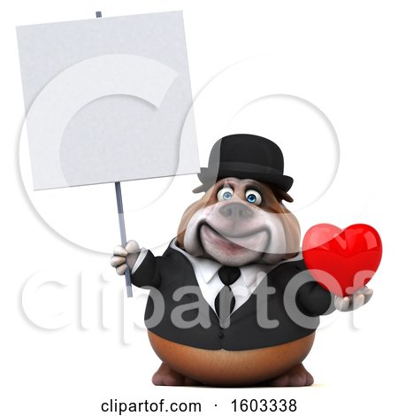 Clipart of a 3d Gentleman or Business Bulldog Holding a Heart, on a White Background - Royalty Free Illustration by Julos