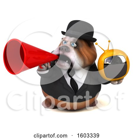 Clipart of a 3d Gentleman or Business Bulldog Holding a Tv, on a White Background - Royalty Free Illustration by Julos