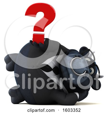 Clipart of a 3d Black Business Bull Holding a Question Mark, on a White Background - Royalty Free Illustration by Julos