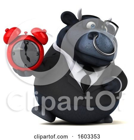 Clipart of a 3d Black Business Bull Holding an Alarm Clock, on a White Background - Royalty Free Illustration by Julos