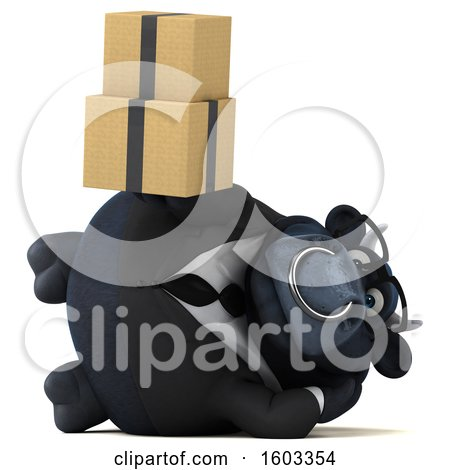 Clipart of a 3d Black Business Bull Holding Boxes, on a White Background - Royalty Free Illustration by Julos