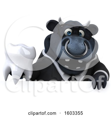 Clipart of a 3d Black Business Bull Holding a Tooth, on a White Background - Royalty Free Illustration by Julos
