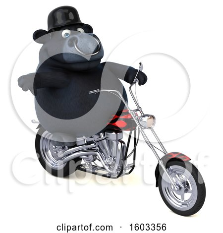 Clipart of a 3d Black Bull Biker Riding a Chopper Motorcycle, on a White Background - Royalty Free Illustration by Julos