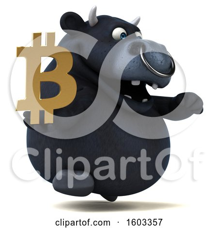 Clipart of a 3d Black Bull Holding a Bitcoin Symbol, on a White Background - Royalty Free Illustration by Julos