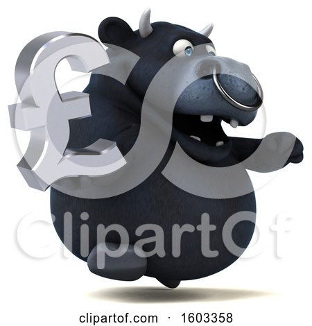 Clipart of a 3d Black Bull Holding a Lira, on a White Background - Royalty Free Illustration by Julos