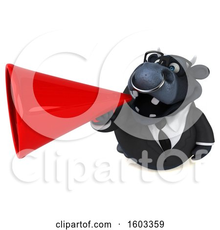 Clipart of a 3d Black Business Bull Using a Megaphone, on a White Background - Royalty Free Illustration by Julos
