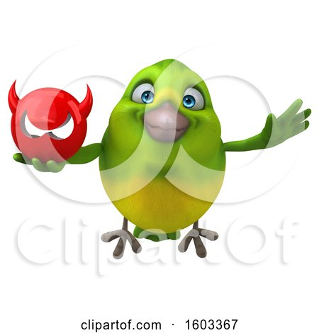 Clipart of a 3d Green Bird Holding a Devil, on a White Background - Royalty Free Illustration by Julos